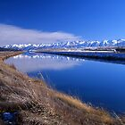 Pukaki Canal, Canterbury, New Zealand. Wide angle by McCall-Images
