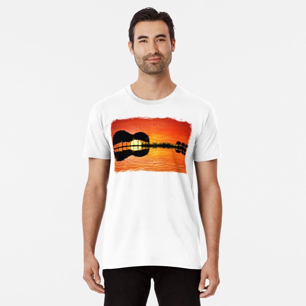 Camiseta premium para hombrepuesta de sol de la isla Delante