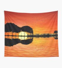 guitar island sunset Wall Tapestry