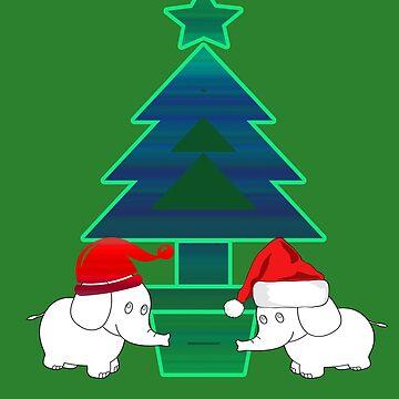 Elephant Christmas by Zmagine