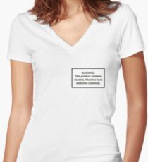 Juul Nicotine Warning Women's Fitted V-Neck T-Shirt