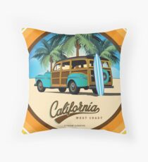 Woodie in California Woody on the Beach Throw Pillow