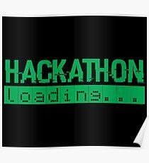 Hackathon Loading Green Retro Coder Type Poster