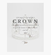 Billie Eilish you should see me in a crown Lyrics Print Photographic Print