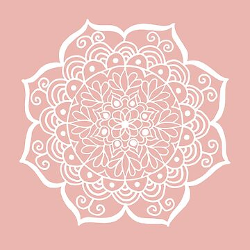 Pretty Flower Mandala on Rose Gold by julieerindesign