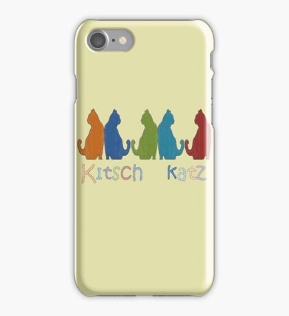 Kitsch Cats Silhouette Cat Collage Pattern Isolated iPhone Case/Skin