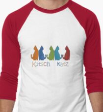 Kitsch Cats Silhouette Cat Collage Pattern Isolated Men's Baseball ¾ T-Shirt