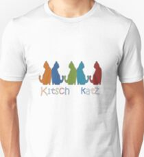 Kitsch Cats Silhouette Cat Collage Pattern Isolated Unisex T-Shirt