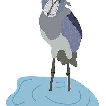 Wading Shoebill Bird by awkwarddesignco