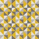 Retro Triangle Design in Yellow and Grey by latheandquill
