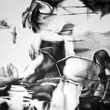 Stalking shadows ahead, 2018, 50-70cm, graphite crayon on paper by oanaunciuleanu