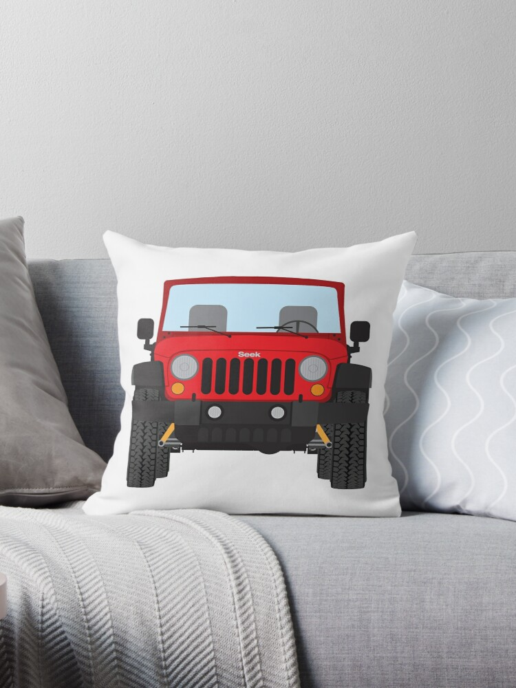 Jeep Wrangler Red Throw Pillows By Oldskooldesign Redbubble