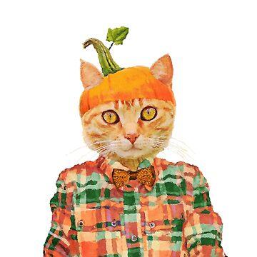 Cute Pumpkin Cat by DarkMaskedCats