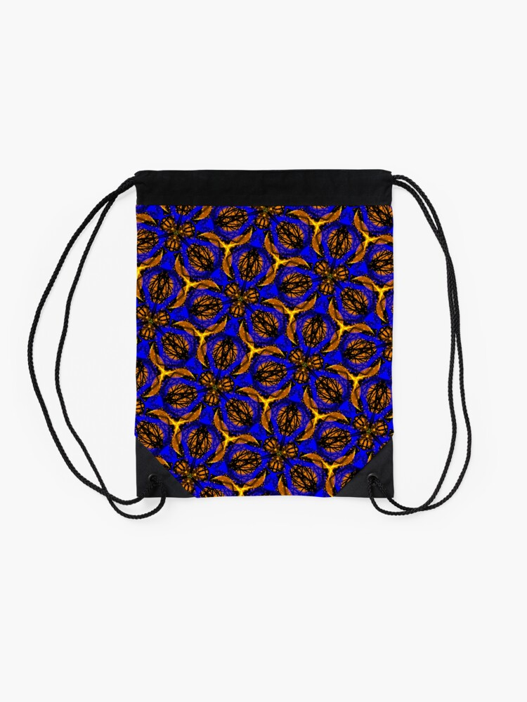 Alternate view of Blue yellow African print  Drawstring Bag