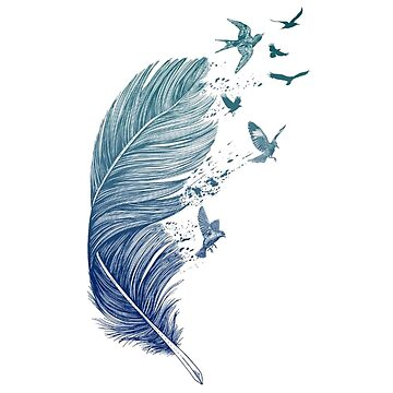 Bird Feather Printmaking Tattoo Printing - Blue feather by JoeEgy