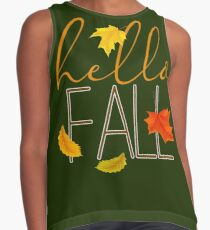 Hello Fall Hand Lettered Typography Contrast Tank
