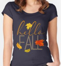 Hello Fall Hand Lettered Typography Women's Fitted Scoop T-Shirt