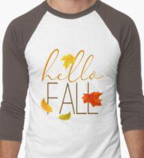 Hello Fall Hand Lettered Typography Men's Baseball ¾ T-Shirt