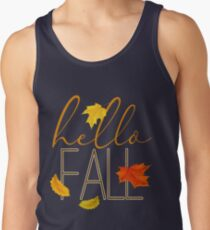 Hello Fall Hand Lettered Typography Tank Top