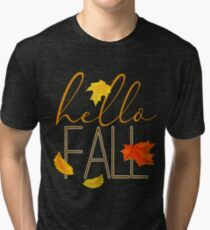Hello Fall Hand Lettered Typography Tri-blend T-Shirt