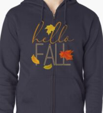 Hello Fall Hand Lettered Typography Zipped Hoodie
