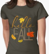 Hello Fall Hand Lettered Typography Women's Fitted T-Shirt