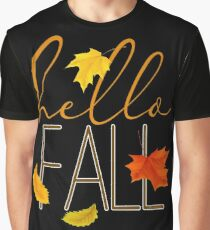 Hello Fall Hand Lettered Typography Graphic T-Shirt