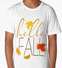 Hello Fall Hand Lettered Typography Long T-Shirt