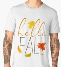 Hello Fall Hand Lettered Typography Men's Premium T-Shirt