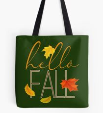 Hello Fall Hand Lettered Typography Tote Bag