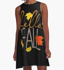 Hello Fall Hand Lettered Typography A-Line Dress