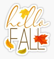 Hello Fall Hand Lettered Typography Sticker