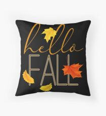 Hello Fall Hand Lettered Typography Floor Pillow
