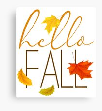 Hello Fall Hand Lettered Typography Canvas Print