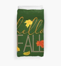 Hello Fall Hand Lettered Typography Duvet Cover