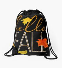 Hello Fall Hand Lettered Typography Drawstring Bag