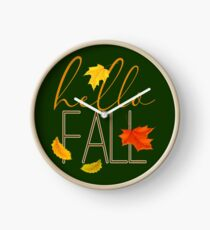 Hello Fall Hand Lettered Typography Clock