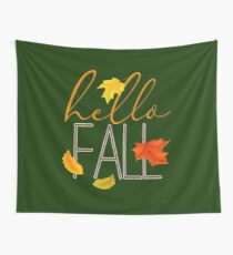 Hello Fall Hand Lettered Typography Wall Tapestry