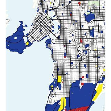 Mapa de Vancouver (Canadá) x Piet Mondrian de franciscouto