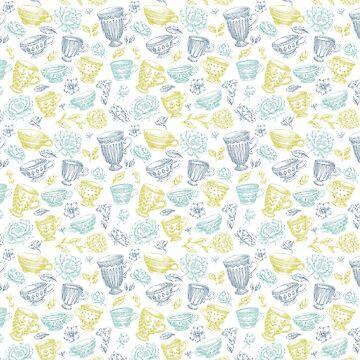 Teal, Gold and Blue Antique Teacups by Pembertea