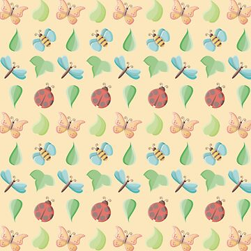 Cute Little Bugs & Leaves Pattern by limengd