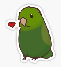 Green Heart Birb Sticker
