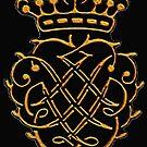Johann Sebastian Bach.. gold on black Monogram by edsimoneit