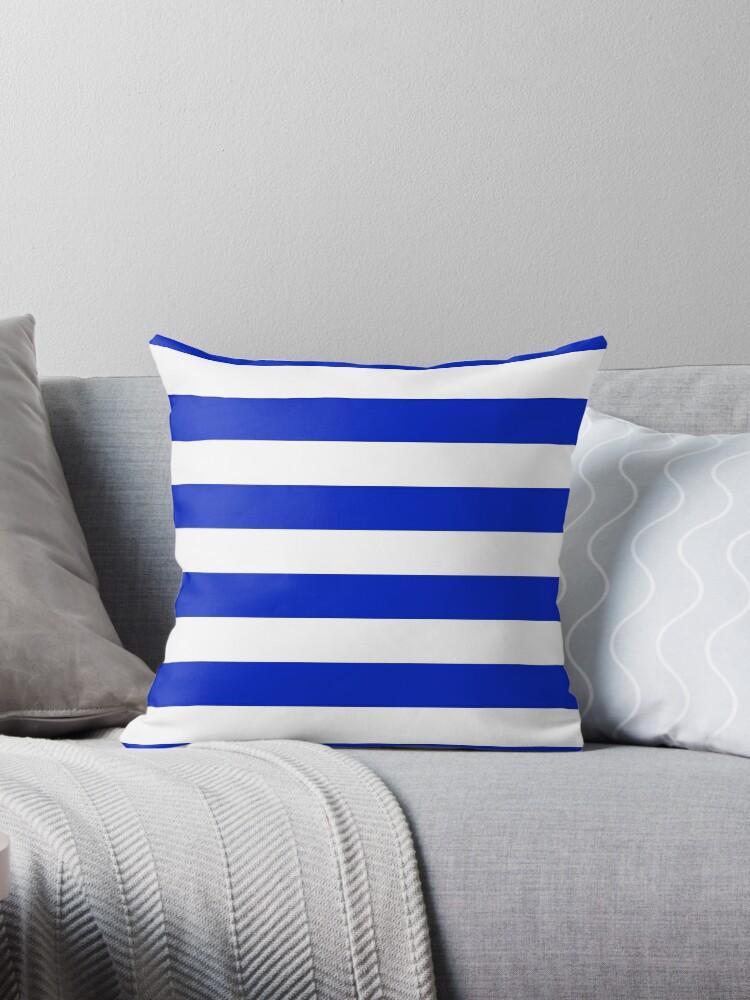 Cobalt Blue and White Wide Horizontal Cabana Tent Stripe by podartist