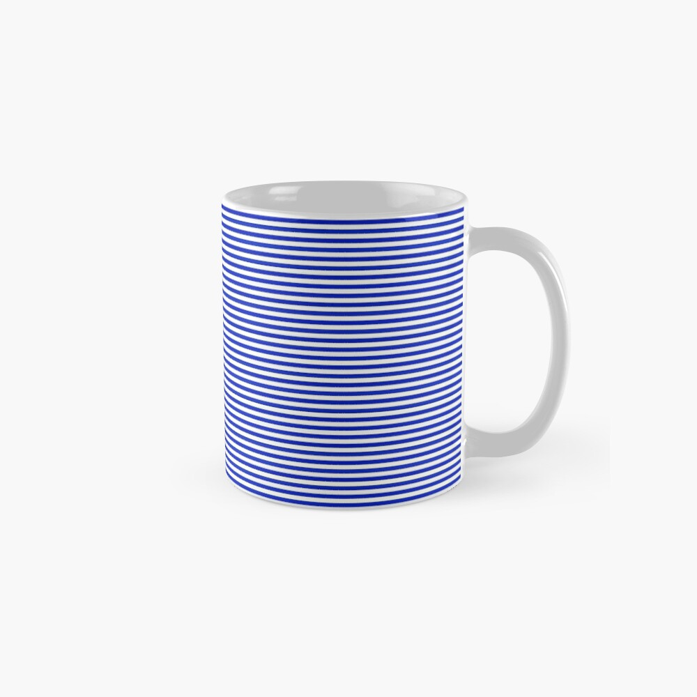 Cobalt Blue and White Horizontal Nautical Sailor Stripe Mugs