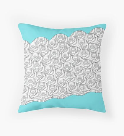 White Clouds Blue Sky Throw Pillow
