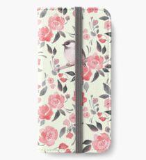 Aquarellblumenhintergrund mit nettem Vogel / 2 iPhone Flip-Case/Hülle/Skin