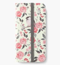 Watercolor floral background with cute bird /2 iPhone Wallet/Case/Skin