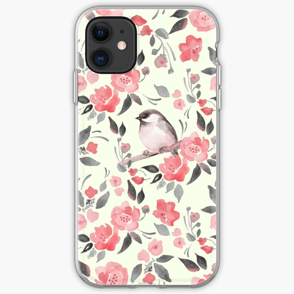 Watercolor Floral Background With Cute Bird 2 Iphone Case