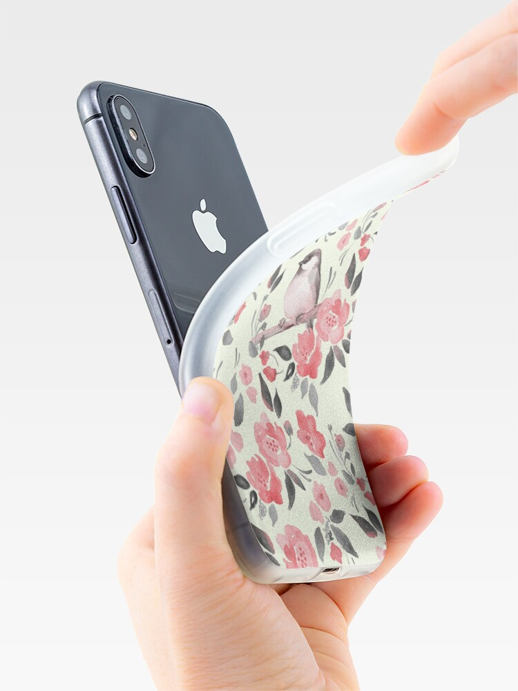 Alternative Ansicht von Aquarellblumenhintergrund mit nettem Vogel / 2 iPhone-Hüllen & Cover